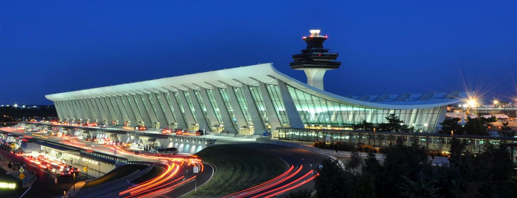 Opened in 1962, Washington Dulles International Airport was named for John Foster Dulles. The architectural design by Eero Saarinen is much praised..