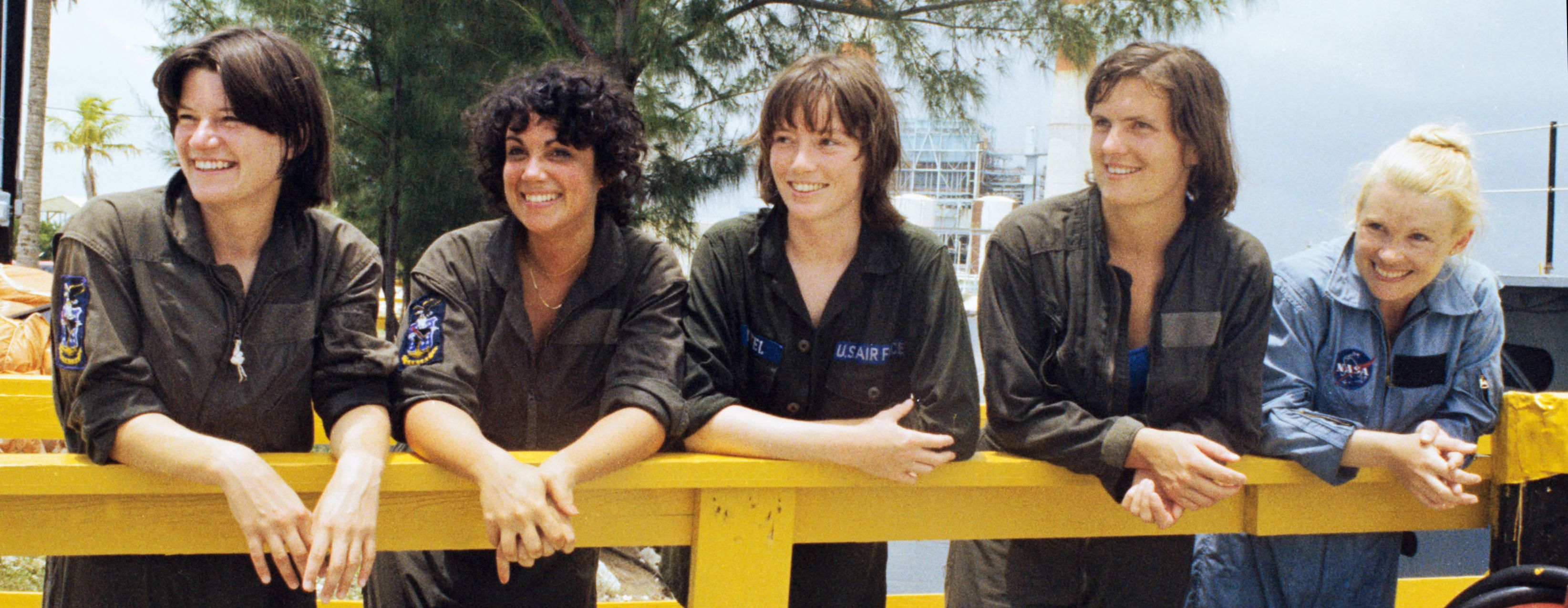 Sally Ride (left) with four other astronaut candidates took a break in during water survival training in 1978. Photo NASA.