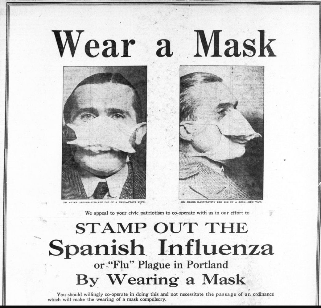 Masks are nothing new -- for centuries doctors have urged wearing masks, maintaining distance, and avoiding crowds during pandemics of contagious diseases such as the Spanish flu.