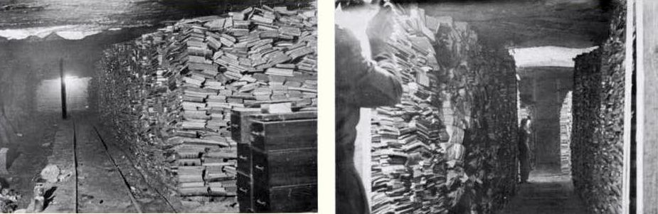 The librarians found enormous qualities of books and archival material in salt mines and other hiding places.