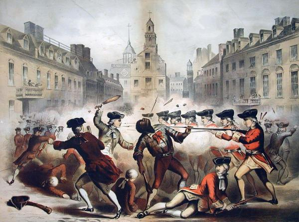 The Boston Massacre engraved by Champney Bufford