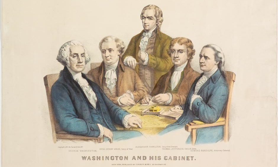 Engraving of George Washington's Cabinet