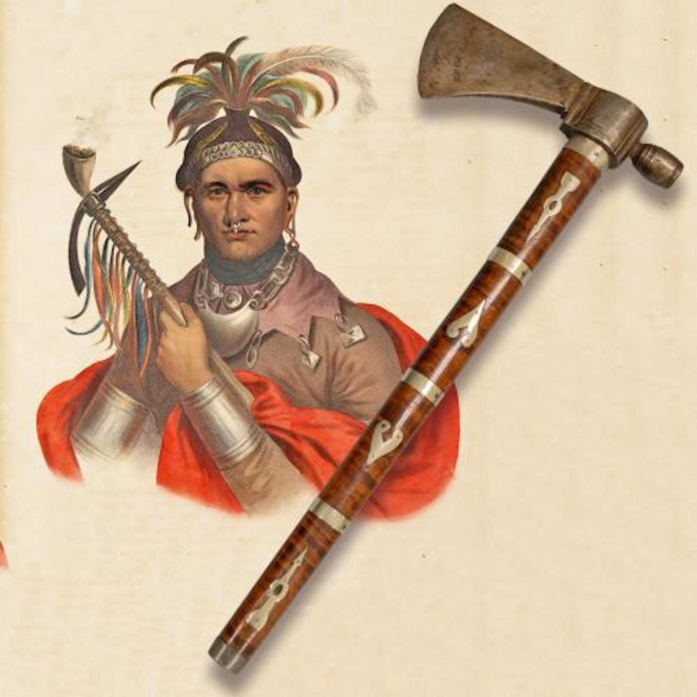 Washington gave Cornplanter a peace pipe tomahawk, shown here resting on a print of the Seneca chief. Image courtesy of the Seneca-Iroquois National Museum.