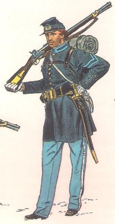 Some early uniforms in the Confederate army were blue, like this one worn by the 5th Georgia Volunteers, causing tragic confusion in the heat of battle.