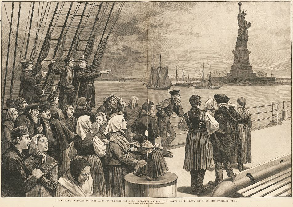 An illustration of immigrants on the steerage deck of an ocean steamer passing the Statue of Liberty from Frank Leslie's Illustrated Newspaper, July 2, 1887. National Park Service, Statue of Liberty NM
