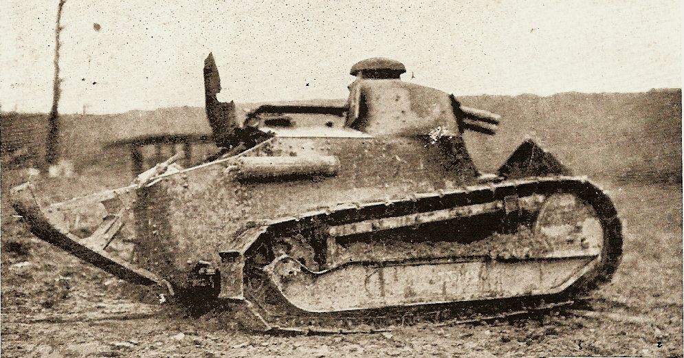 The American army lacked modern artillery and tanks, and often fought with antiquated equipment like this French tank used by the 79th Division.