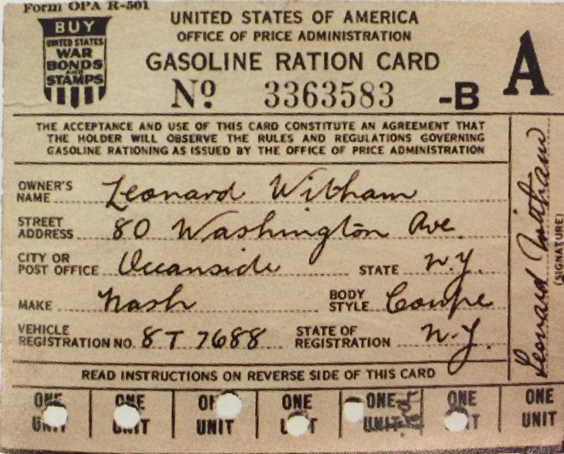 A gas ration card from WWII
