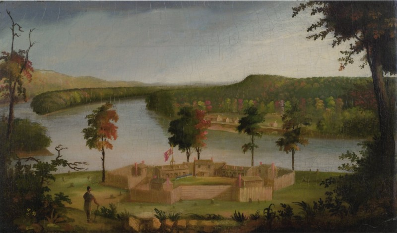 The pioneers settled at their new town of Marietta across from the Army's Fort Harmar, shown in a painting attributed to Sala Bosworth. Marietta College Library.