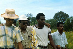 James Meredith, second from right, on June 27, 1966, after rejoining the march.