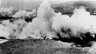 Airdrop at Nadzab, Morning of 5 September 1943. (U.S. Air Force photograph)