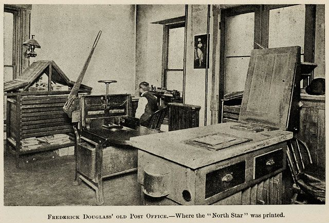 Douglass published his North Star newspaper in this office in Rochester. Rochester Public Library.