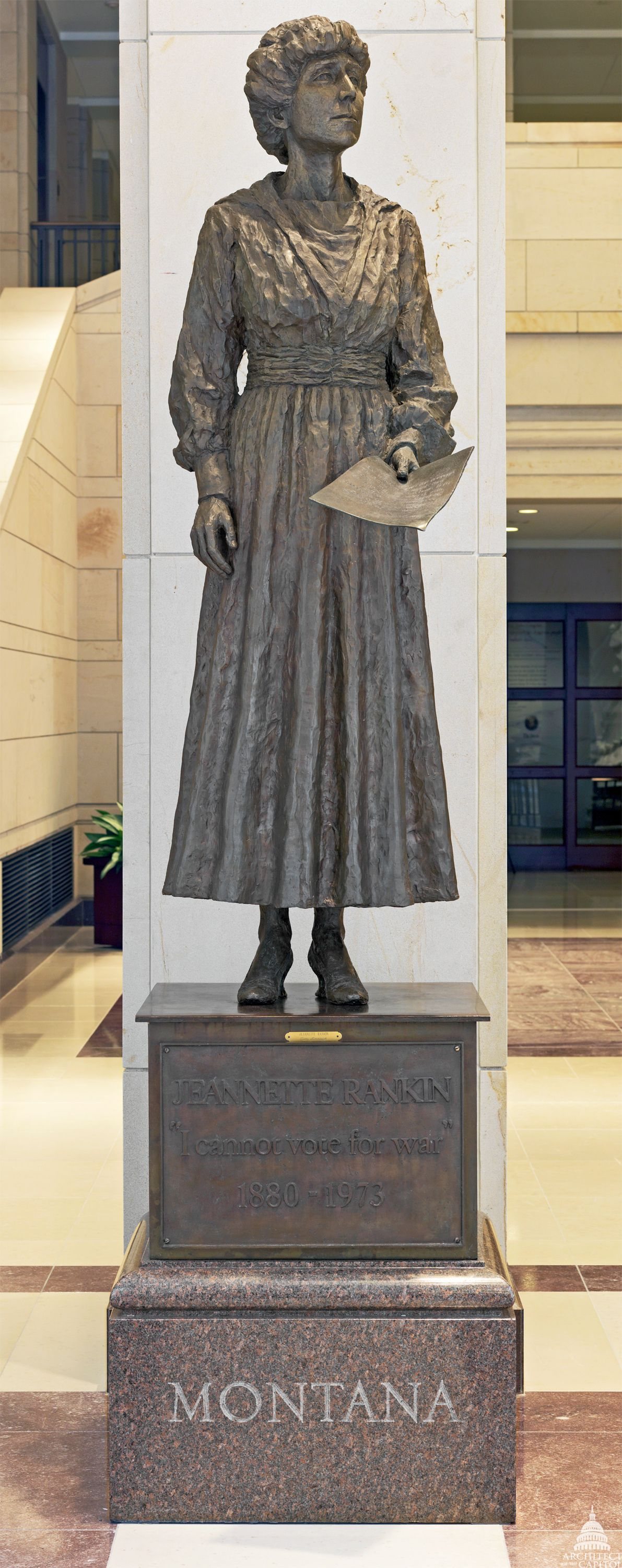 A statue of Jeannette Rankin -- the first woman elected to Congress -- stands tall in the Capitol.  Courtesy of Architect of the Capitol.