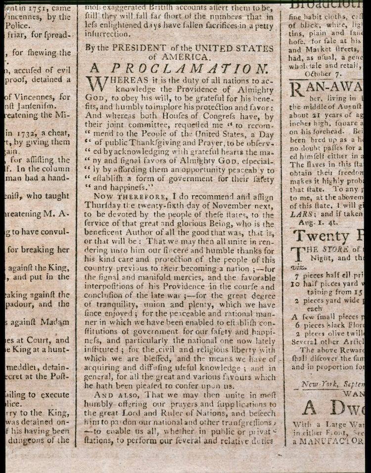 Washington issued a proclamation on October 3, 1789, designating Thursday, November 26 as a national day of thanks.