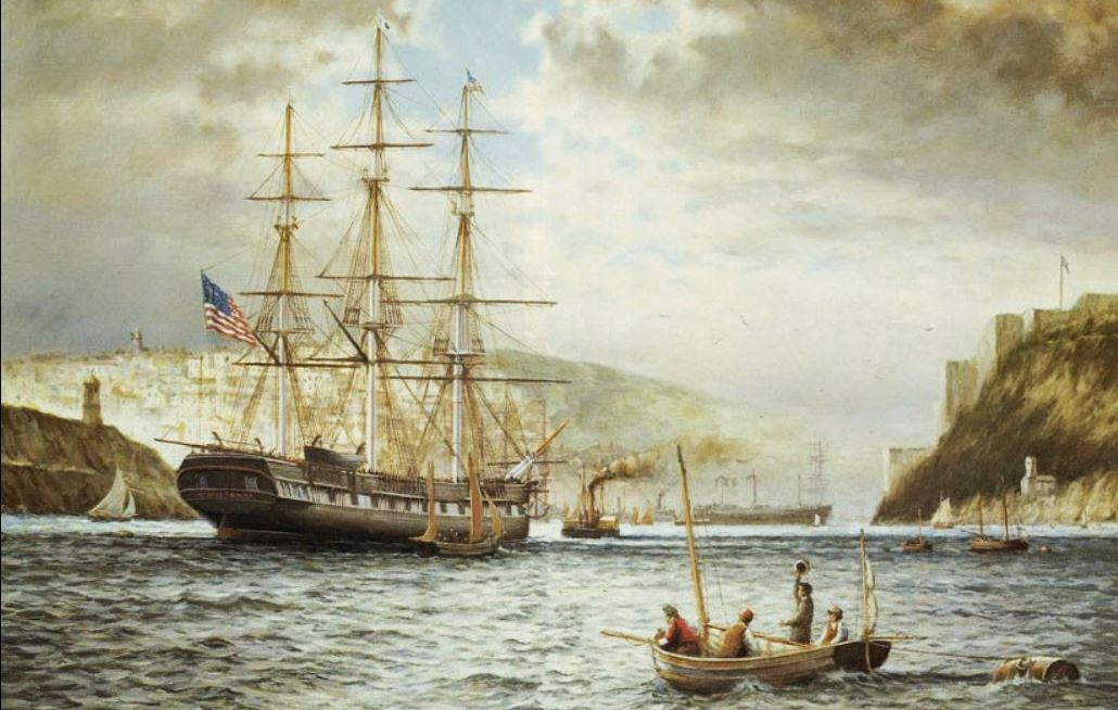British artist Rodney Charman painted the USS Jamestown arriving in Cobh, Ireland with its precious load of relief supplies.