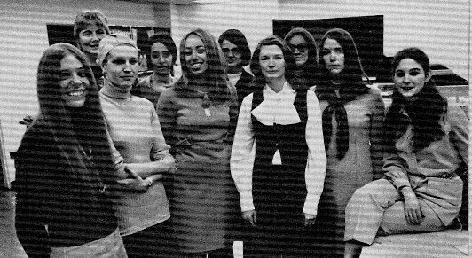 Plaintiffs in the landmark 1970 discrimination suit against Time, Inc. included the author, Ann Scott Crittenden, fifth from left. Others in the group were (left to right) Galen Moore,  LIFE; Marjorie Jack, Fortune; Elizabeth Frappollo, LIFE; Lauren Field, Time; Julia Lamb, Sports Illustrated; Rose Mary Mechem, Sports Illustrated; Patricia Beckert, Time; Sarah Brash, Time-Life Books; and Johanna Zacharias, Time-Life Books.