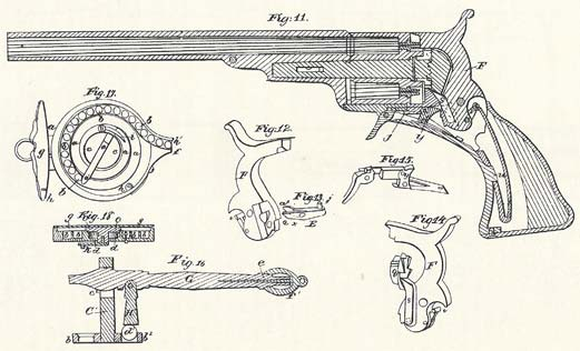 Patent diagram for the design of the Colt Paterson Revolver