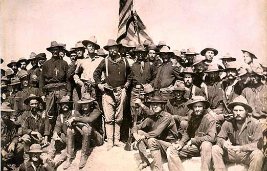 Theodore Roosevelt and the Rough Riders after the Battle of San Juan Hill, July 1898.
